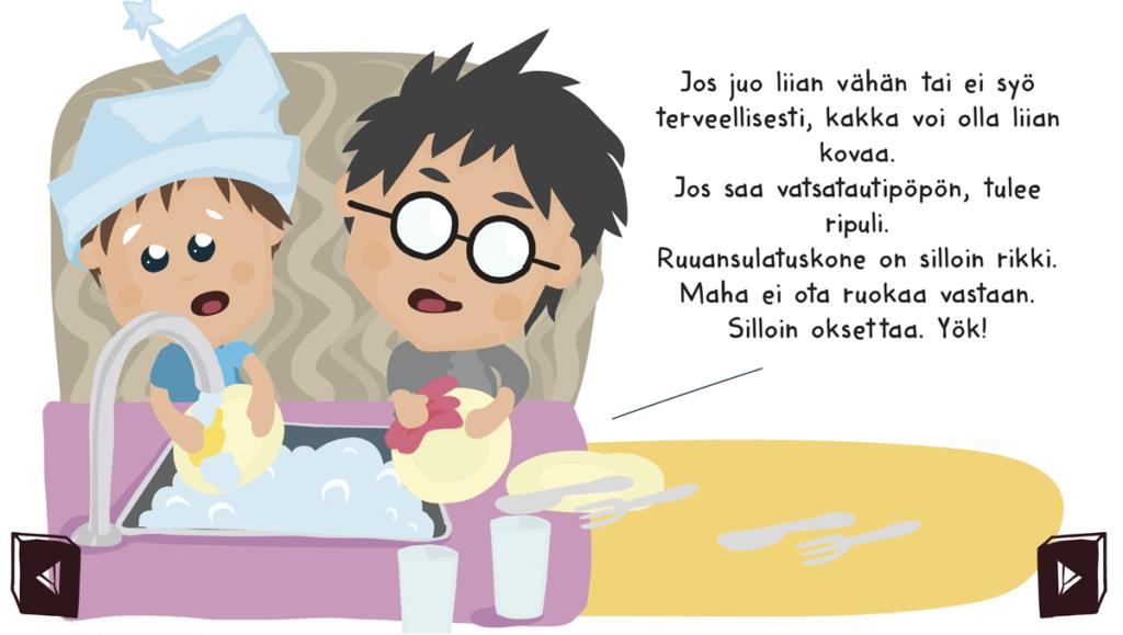 Kaksi lasta tiskaamassa astioita.