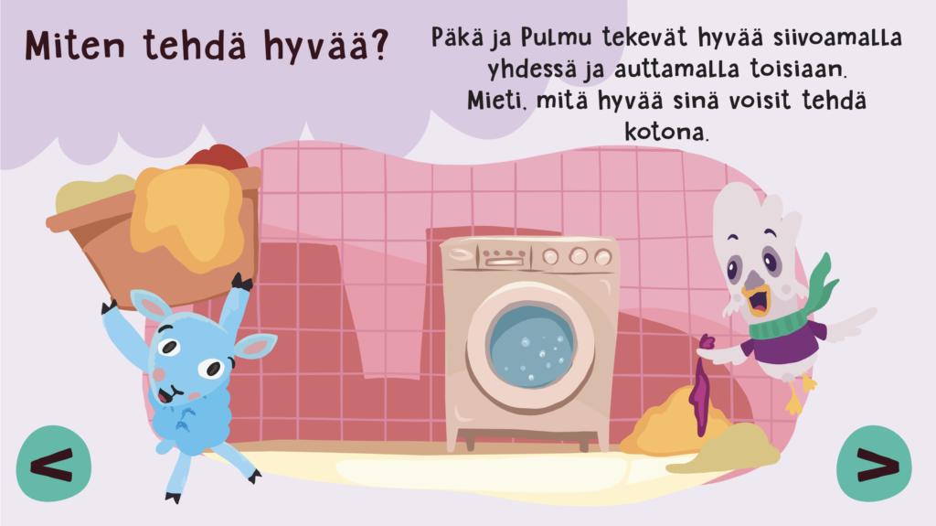 Päkä ja Pulmu pyykkituvassa.