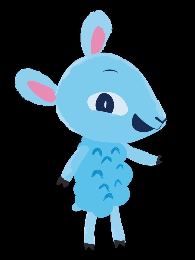Päkä -lammas hymyilee.