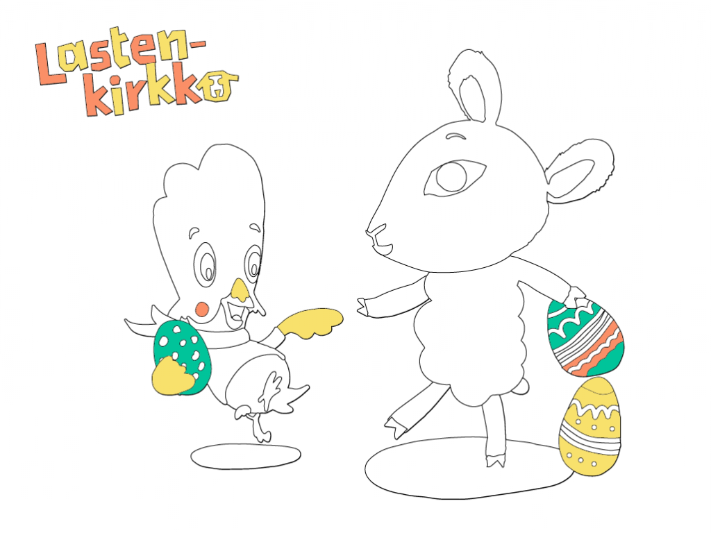 Päkä ja Pulmu leikkivät pääsiäismunilla.