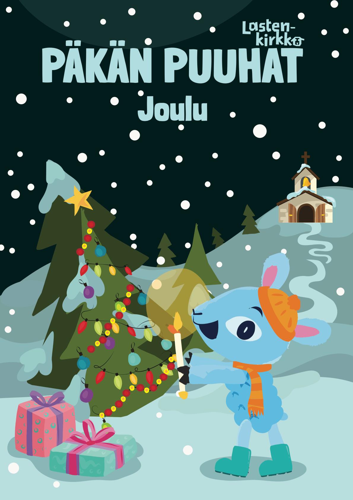 Lehden kannessa on joulukuusi, Päkä, lahjoja ja kirkko kukkulalla.