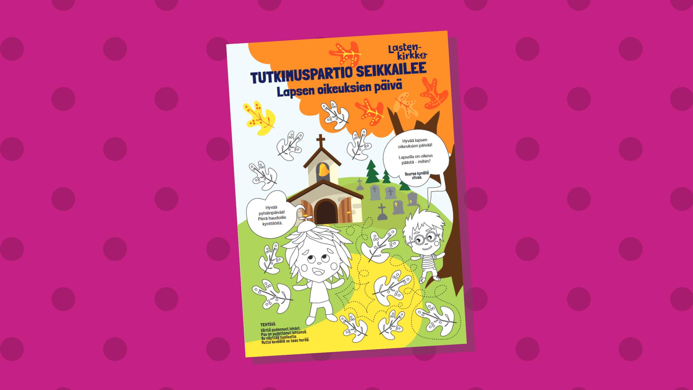 Lehden kannessa on piirustus lapsista leikkimässä puun lehdillä. Taustalla on syysmaisema.