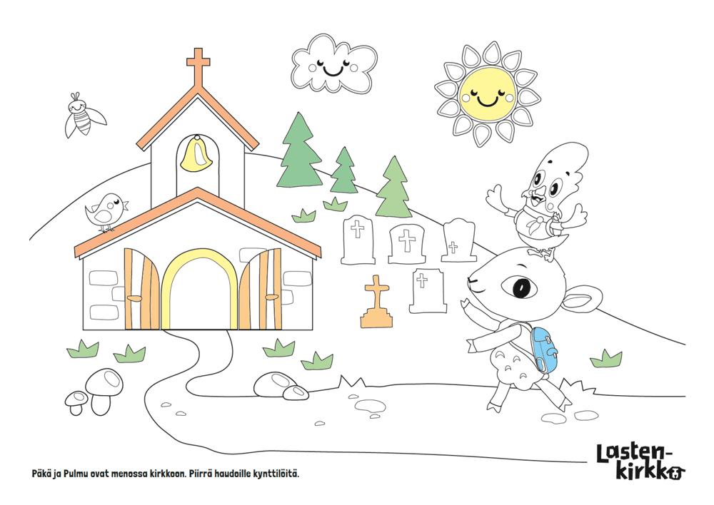 Värityskuvassa on kirkko, kukkula, hautakiviä, Päkä ja Pulmu.