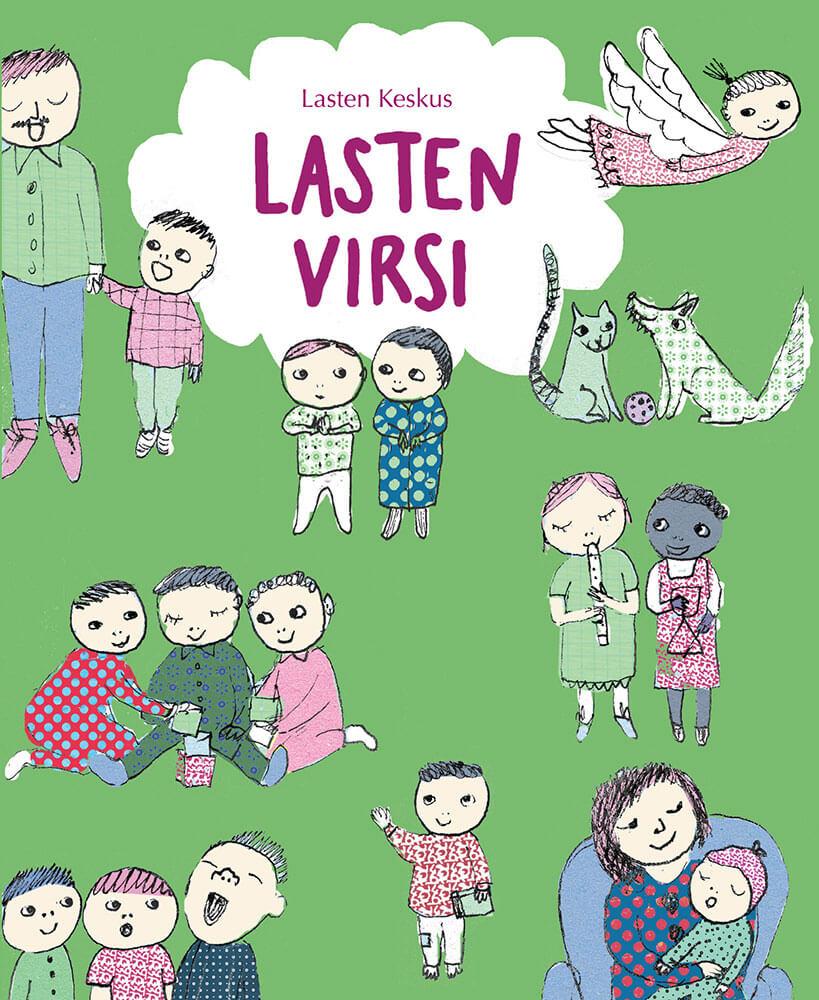 Kirjan kansi, jossa on vihreä tausta ja piirustuksia lapsista.