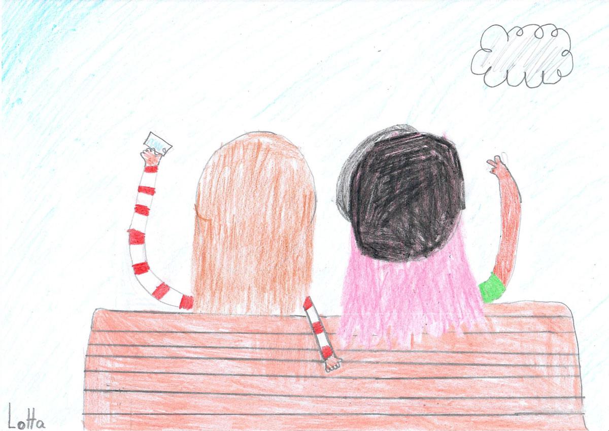 Piirustuksessa kaksi henkilöä istuu penkillä. Henkilöistä näkyy vain päät takaapäin.